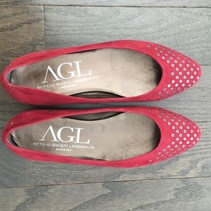 NWOB AGL Berry Red Suede Eyelet Ballet Flats